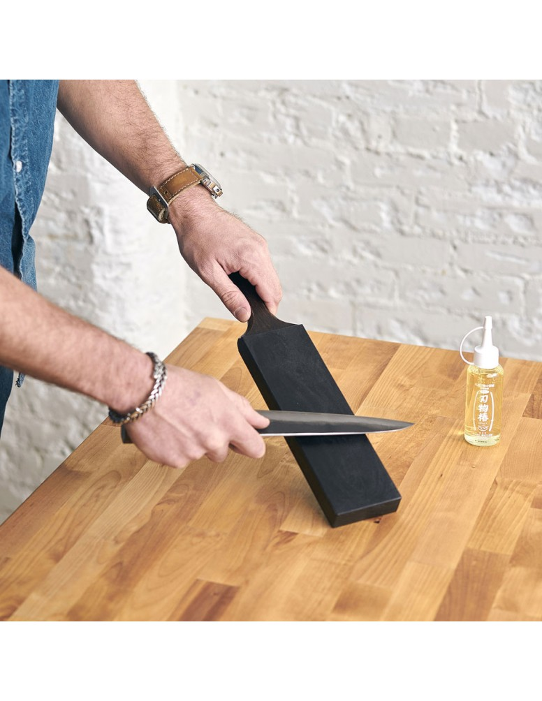 Leather Honing Strop for chef knife care, a collaboration with Will Griffin.
