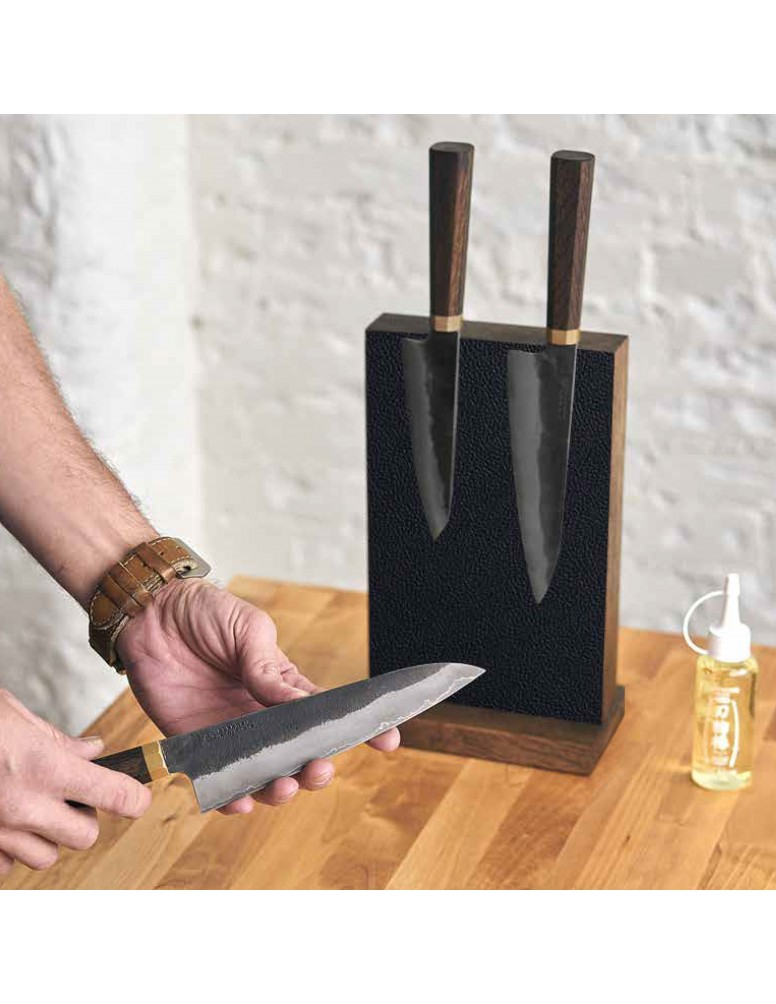 Leather & Oak Magnetic Counter Top Knife Block collaboration with Piotr the Bear.